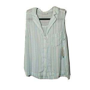Abound blue white Button Up Striped Tank m medium